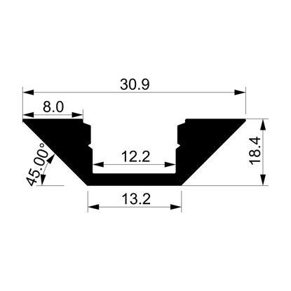 Image de Profilé en aluminium angulaire 30x18mm avec diffuseur, 2 mètres